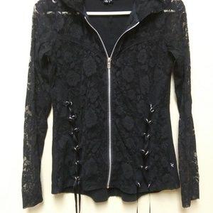 Royal Bones Black Lace Corset Hoodie